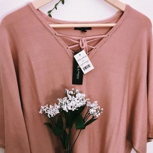 Tops - 🌈 Rose Lace Up V-Neck Dolman Sleeve Sweater XL